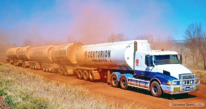 Австралийский 176-футовый (53,5 м) «дорожный поезд» с тягачом Volvo NH (шасси – FH, кабина от американского VN), 1996 г.