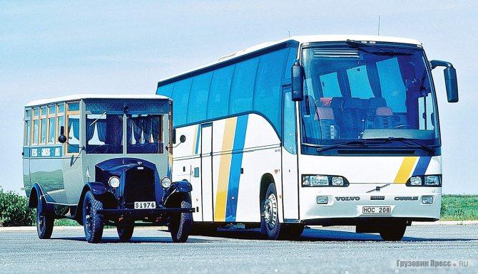 Автобус Volvo LV4 выпуска 1928 г. и финский Carrus Star 602 на шасси Volvo B12B, 1995 г.