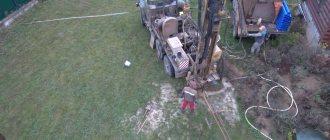 Буровая установка на базе ЗИЛ 131 в процессе работ