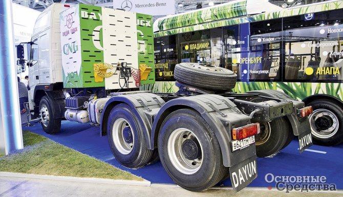 Cедельный тягач Dayun китайского производства с газодизелем мощностью 280 кВт