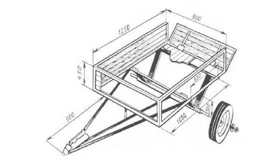 Чертеж конструкции самодельных телег для минитрактора