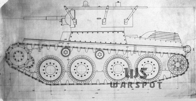 Эскизный проект колёсно-гусеничного танка Т-46, ноябрь 1933 года. - Колёсно-гусеничный тупик   Warspot.ru