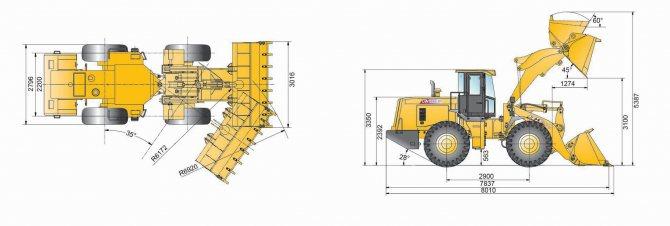 габаритные размеры фронтального погрузчика XCMG LW500f