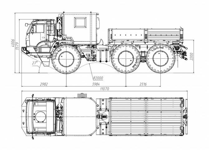 Геометрические размеры КАМАЗ-6345-3101