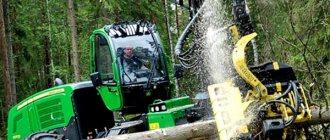 Харвестер на лесозаготовке