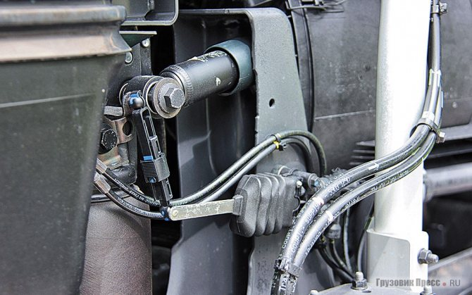 Кабина подвешена на четырёх пневмобаллонах, для адекватной «прыгучести» давление воздуха контролируется датчиками колебаний – школа ошибок «Магнума». Крепёж, использующийся в соединениях рамы, теперь унифицирован с аналогичными деталями Volvo