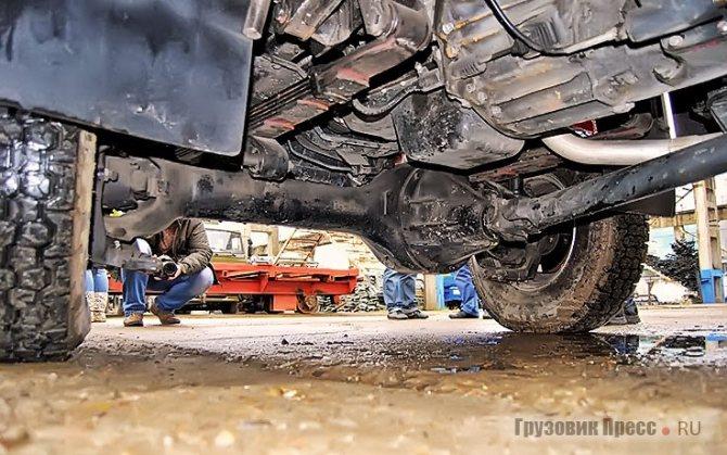 Картер двигателя надёжно спрятан от повреждений за корпусом редуктора переднего моста…