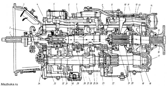 Коробка передач автомобилей MA3-54322 и МАЗ-64227