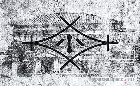 Логотип 1921 года Komatsu Manufacturing Co., Ltd на фоне офиса