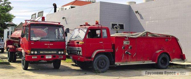 Mitsubishi-Fuso FK416 и Isuzu JCR500 на службе в пожарной части Бангкока с кузовами местной таиландских компаний
