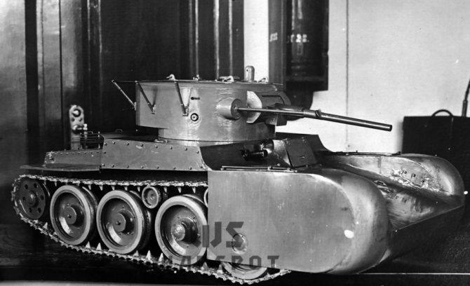 Модель Т-46 с обтекателями, которая продувалась осенью 1934 года в аэродинамической трубе. - Колёсно-гусеничный тупик   Warspot.ru