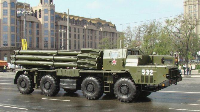 Мощная система залпового огня «Смерч-М» на шасси МАЗ-543М (фото автора)