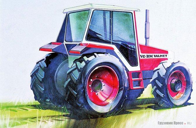 Один из ранних эскизов шведско-финского трактора Valtra, нарисованный шведскими дизайнерами Volvo BM в 1982 г.