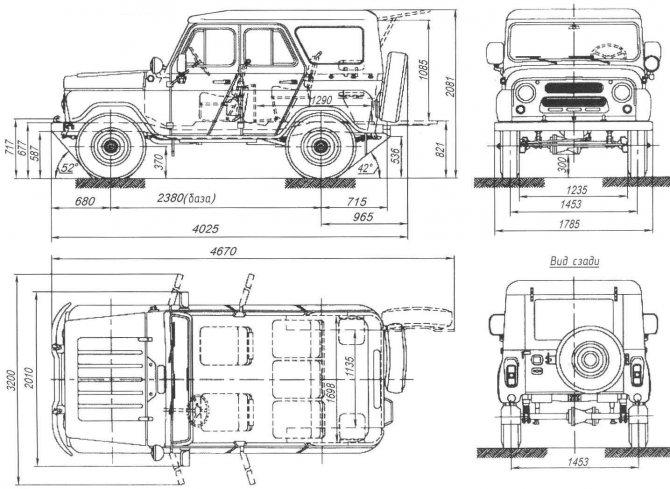 Основные размеры УАЗ-469 (УАЗ-3151) — гражданской модификации армейского вездехода без бортовых редукторов и с металлическим верхом кузова