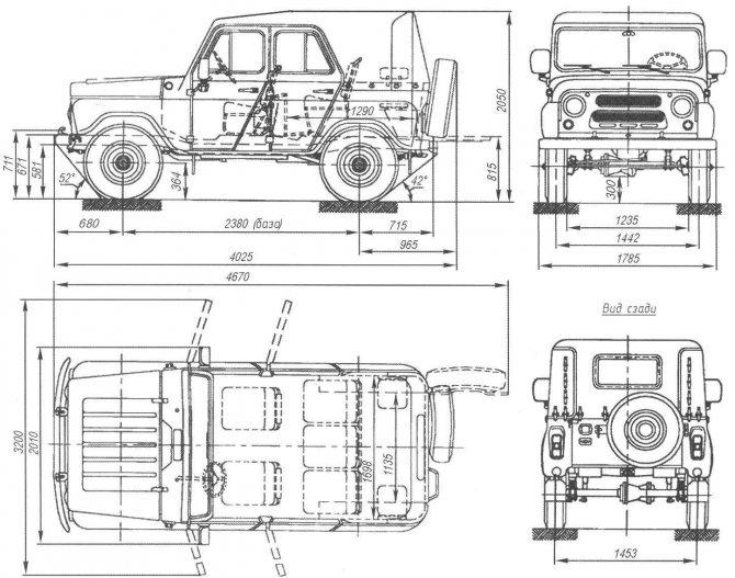 Основные размеры УАЗ-469 (УАЗ-31512) — армейского вездехода с бортовыми редукторами и брезентовым верхом кузова