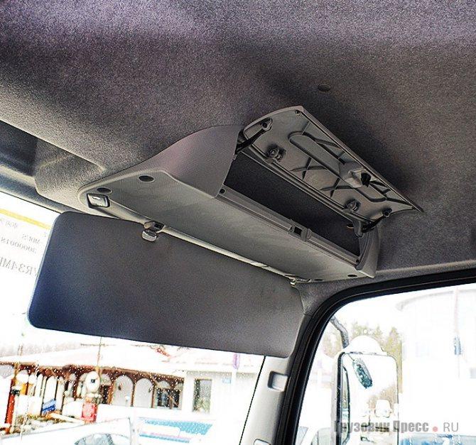 Откидной козырёк и отсек с крышкой под потолком есть и со стороны пассажира