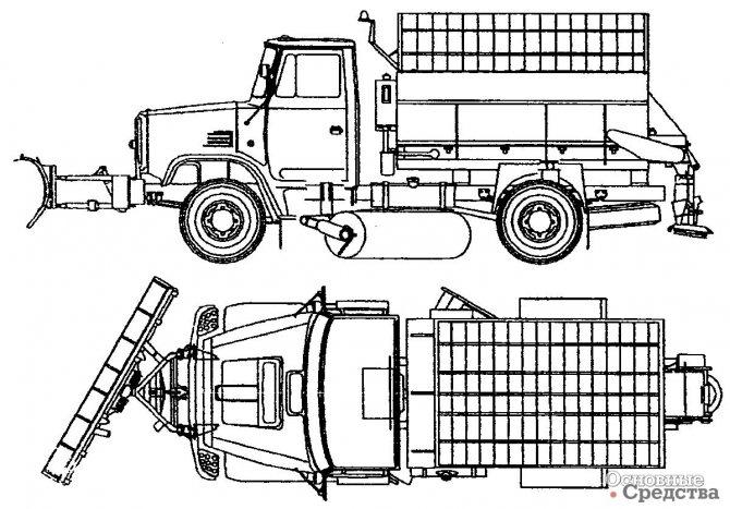 Пескоразбрасыватель ПР-1 с плужно-щеточным оборудованием ПЛЩ-1