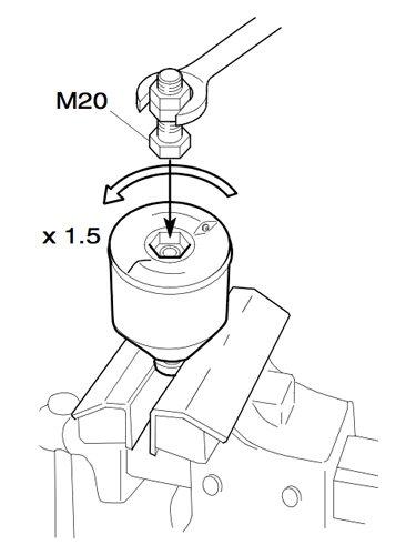 Процесс откручивания гайки ротора при помощи болта М20