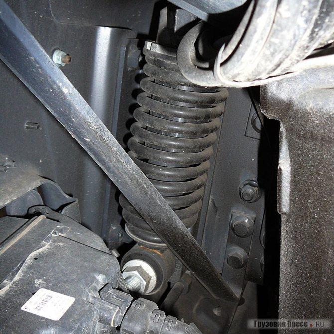 Пружина амортизатора передней подвески кабины и усилитель бампера
