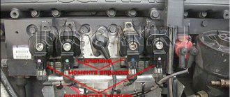 Расположение топливных клапанов на двигателе