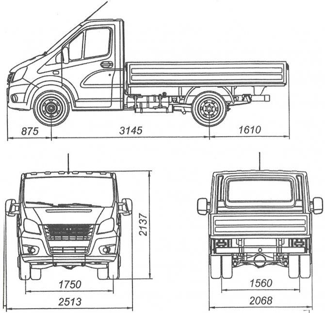 Размеры автомобиля A21R22 Газель-Next
