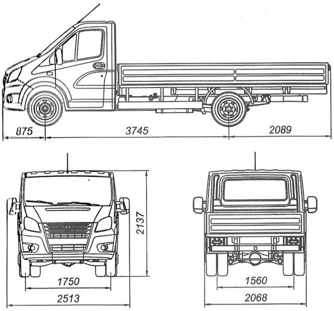 Размеры автомобиля A21R32 Газель-Next