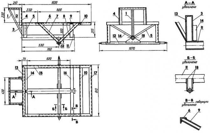 Рисунок 3: Как сделать прицеп к мотоблоку своими руками - Рама кузова