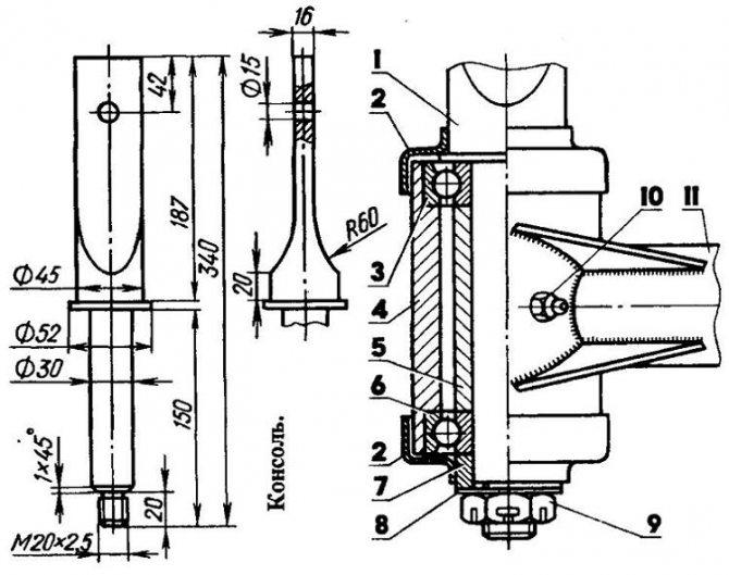 Рисунок 4: Прицеп для мотоблока, поворотный узел водила