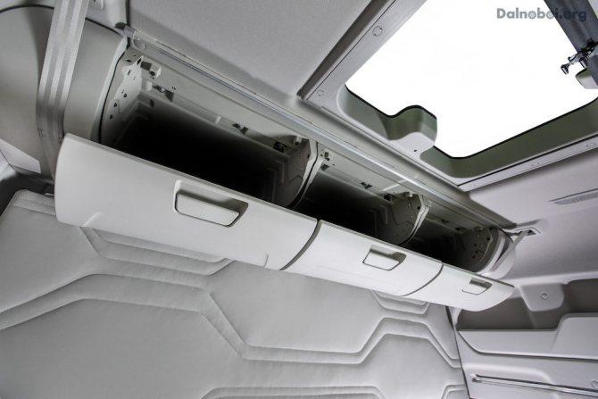 «Самолетные» ящики над верхней полкой спального отсека