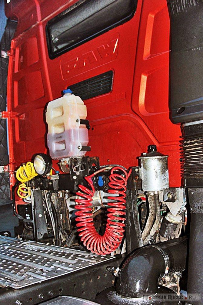 Сцепная станция не помешает подъёму кабины, за шланги и кабели можно не беспокоиться