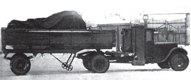 Седельный газогенераторный тягач ЗИС-21Г с полуприцепом НАТИ, 1939-1941 гг.