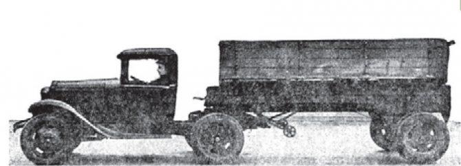Седельный тягач ГАЗ-АА с деревяннымполуприцепом-платформой, 1934-1940 гг.