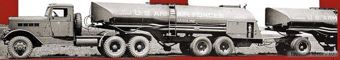 Седельный тягач Reo 29XS с двумя полуприцепами-топливозаправщиками F-1A объёмом 15 140 л каждый. Из проспекта компании Reo Motors 1945 г.