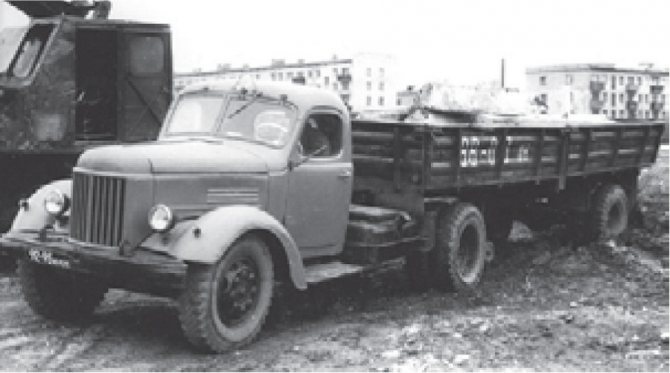 Седельный тягач ЗИЛ-164АН с полуприцепом-платформой ММЗ-584Б, 1960-1962 гг.