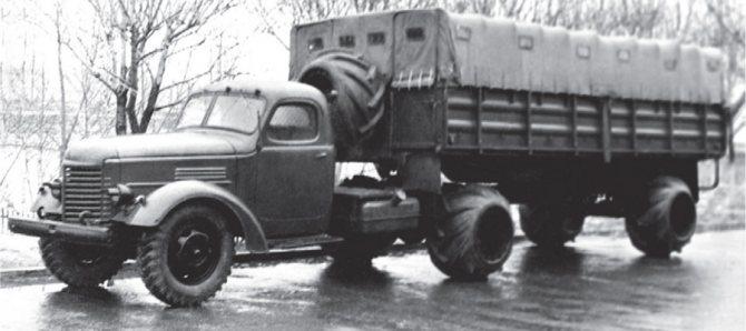 Седельный тягач ЗИС-120Н с полуприцепом-платформой ММЗ-584 на арочных шинах, 1958-1959 гг.