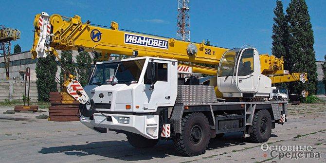 Шасси БАЗ-8027 с 32-тонным краном