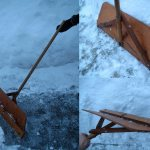 Скребок для уборки снега на колесах