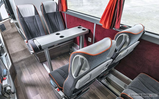 Столики в автобусах первого и комфорт-класса имеют заметные отличия