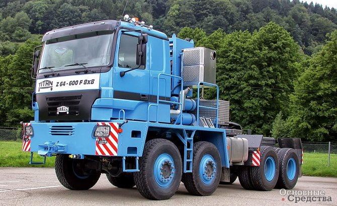 Сверхтяжелый седельно-балластный тягач TITAN Z64-600 F 8х8 с тяговым усилием 1000 т
