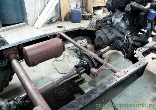 Трансмиссия ГАЗ-53, колёса БТР, мотор Mazda.