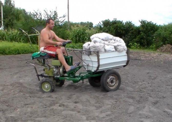 Транспортировка урожая мотоблоком