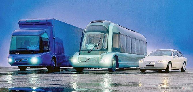 Триада экспериментальных Volvo ECT (Environmental Concept Truck), Volvo ECB (Environmental Concept Bus) и Volvo ECC (Environmental Concept Car) с микротурбинами в качестве силовых агрегатов, 1995 г.