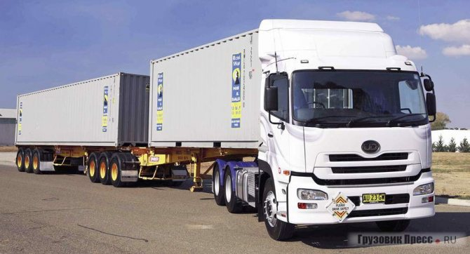Тяжёлый тягач UD Quon способен таскать австралийские дорожные поезда – road train