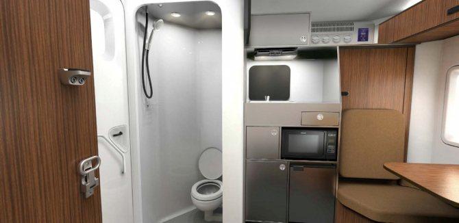 В стандартное оснащение входят кухонный блок и санузел