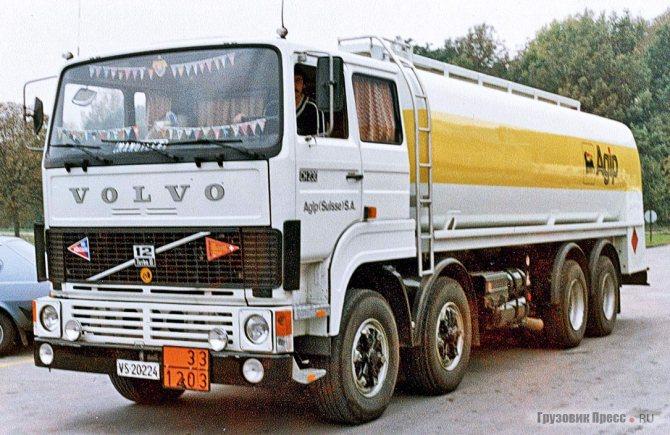 Volvo F12 CH230. Швейцарские требования к внешнему шуму (88 дБ) вынудили установить повышенную звукоизоляцию и изменённую систему выпуска отработавших газов